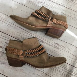 SAM EDELMAN Posey Tan Suede Chain Ankle Boots